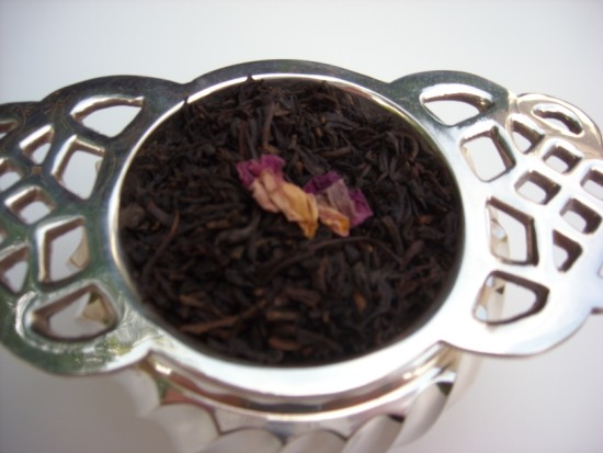 China Rose Black Tea - Rose petals are layered with black tea leaves as they dry, imparting a sweet delicate fragrance.  Wonderful for a Bridal Tea!
