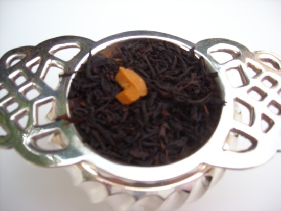 Chocolate Caramel Black Tea - A fine China tea flavored with cocoa bits and caramel.